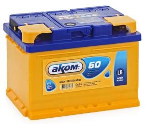 Аккумулятор автомобильный АКОМ 6ст-60(о/п) 590 А (низкий)