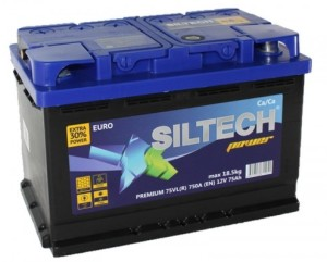 Аккумулятор автомобильный SILTECH POWER 6СТ-75 VLR (о.п.) низкий 750